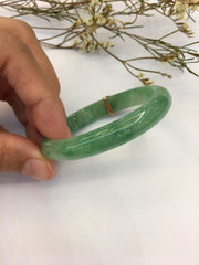 Icy Green Jade Bangle - Oval (BA105)