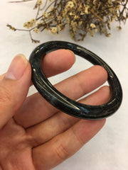 Black Jade Bangle - Round (BA175)