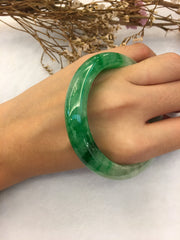Green Jade Bangle - Round (BA016)