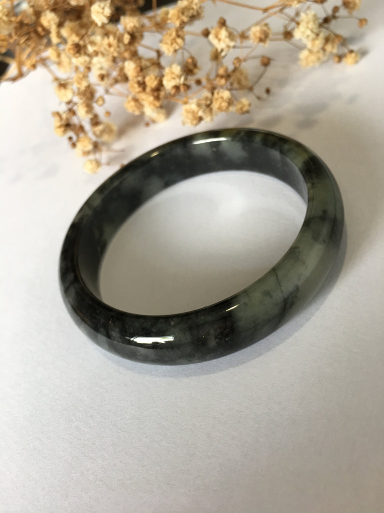 Black Jade Bangle - Round (BA193)