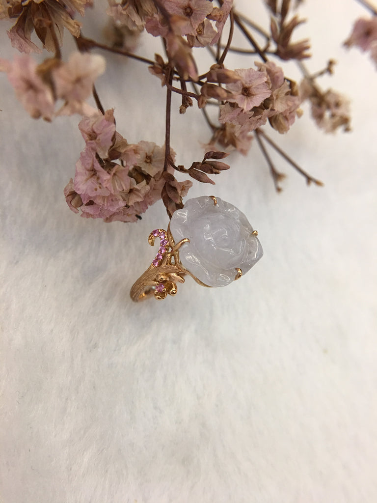 Icy White Jade Ring - Flower (RI010)