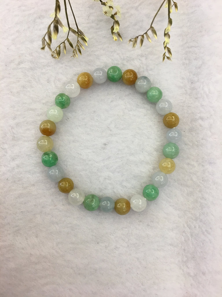 Multi-coloured Jade Bracelet - Beads (BR131)