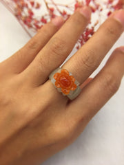Icy Orangy Red Jade Ring - Flower (RI161)