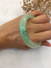 Icy Light Green Jade Bangle - Round (BA184)