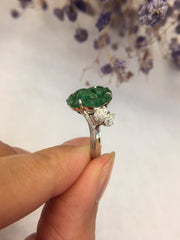 Green Jade Ring - Flower (RI222)