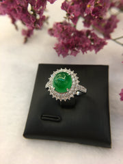 Green Cabochon Jade Ring (RI226)