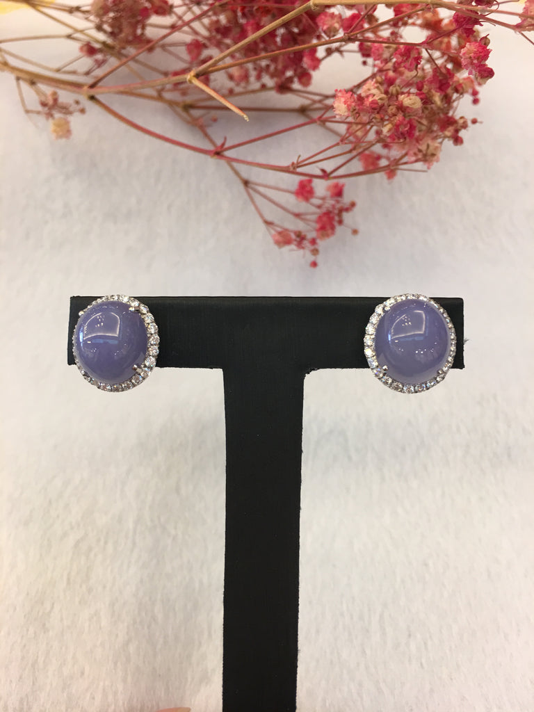 Lavender Jade Earrings - Cabochon (EA326)