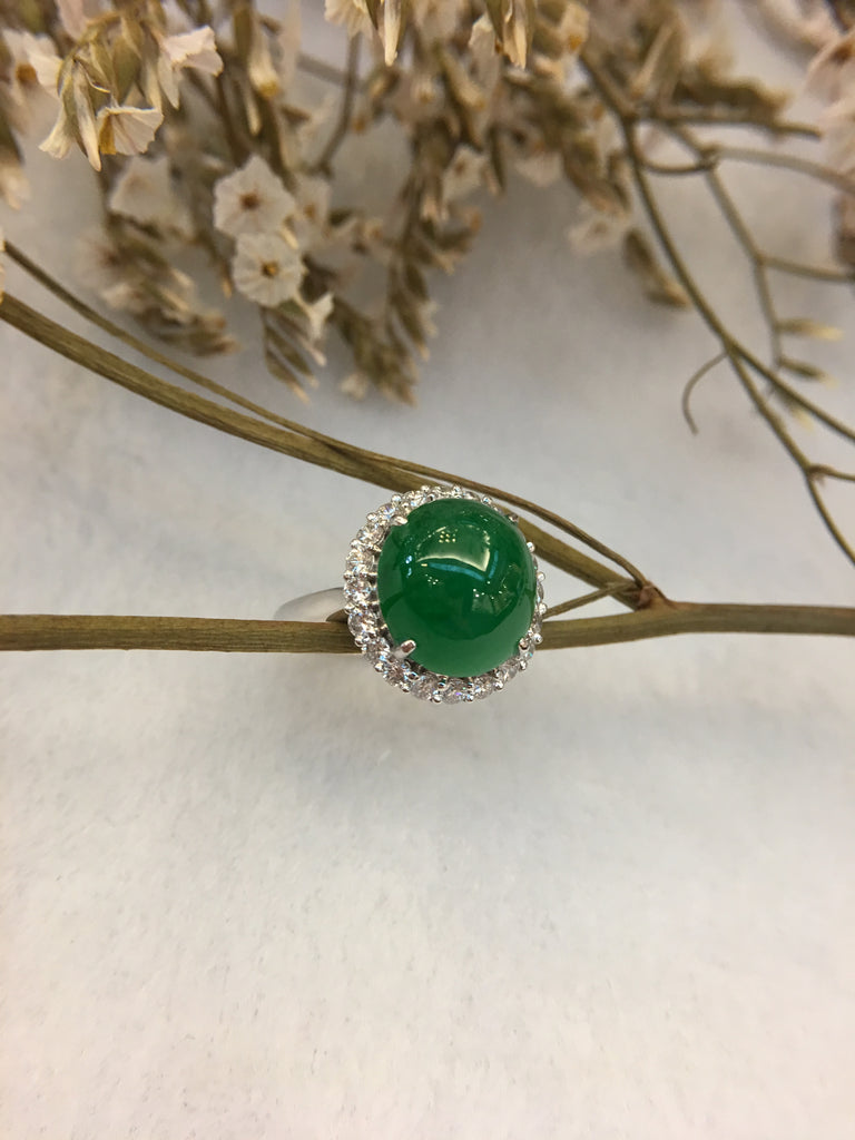 Green Jade Ring - Cabochon (RI037)