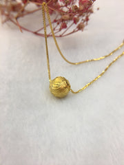 24k Pure Gold Ball Necklace (NE008)