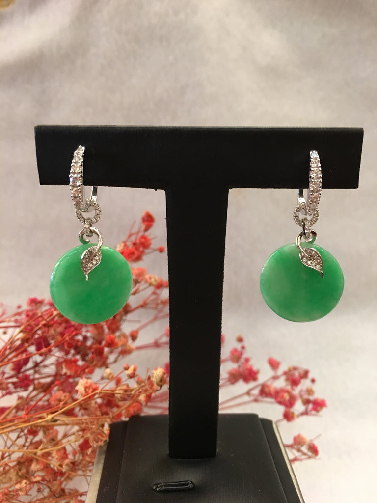 Green Jade Earrings - Round (EA246)