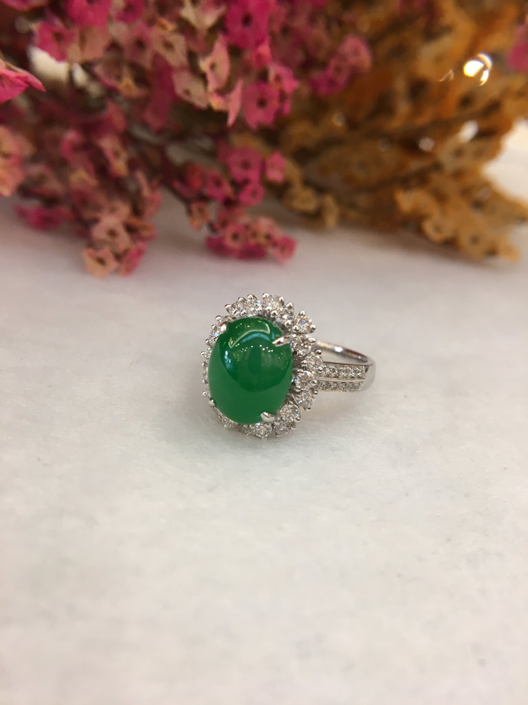 Green Jade Cabochon Ring (RI230)
