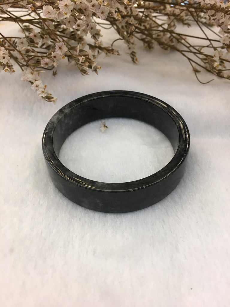 Black Jade Bangle - Round (BA165)