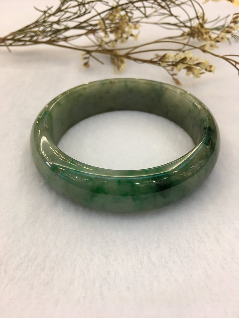 Dark Green Jade Bangle - Round (BA139)