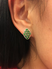 Green Jade Earrings - Diamond Shape (EA136)