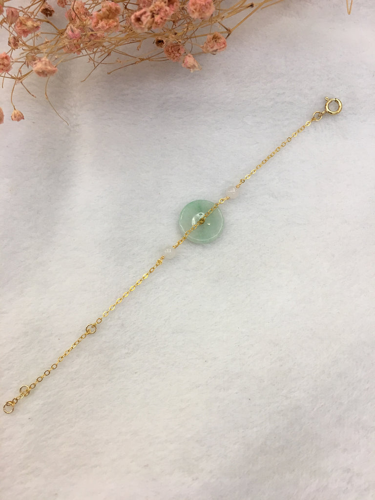 Icy Green Jade Bracelet - Coin (BR226)