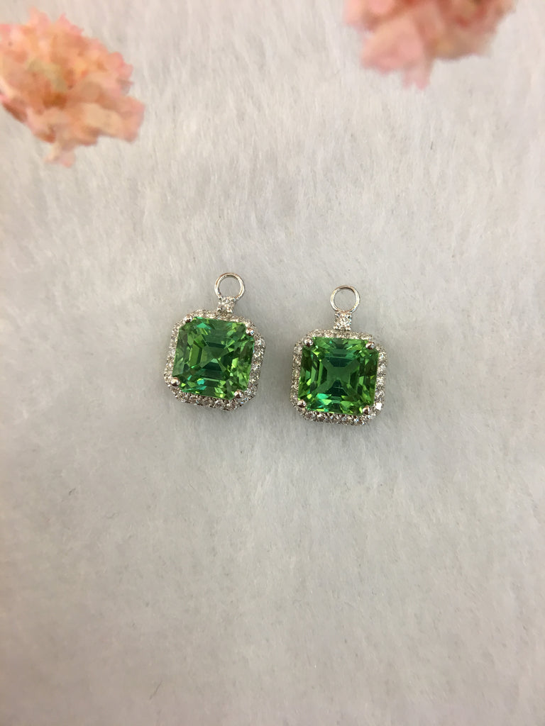 Natural Mint Green Tourmaline Earrings (GE076)