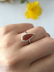 Red Jade Ring - Pear Shape (RI045)