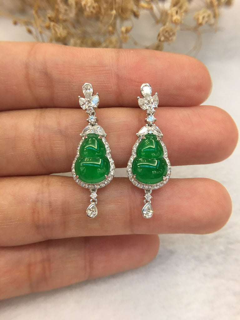 Green Jade Earrings - Hulu (EA008)