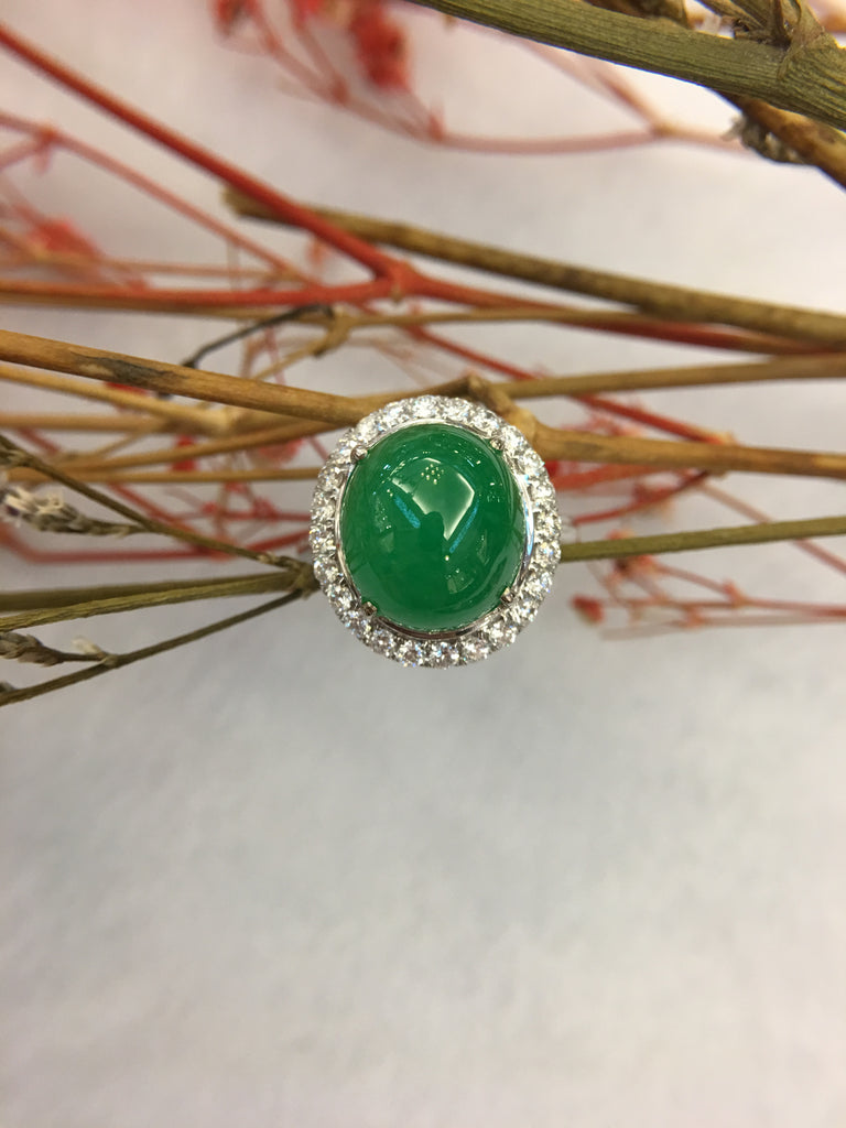 Green Jade Ring - Cabochon (RI166)