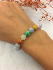 Multi-colours Jade Bracelet - Beads (BR075)