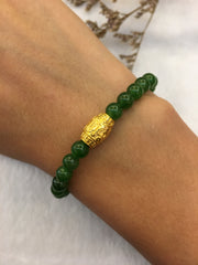 24k Pure Gold Barrel With Nephrite Bracelet (BR016)