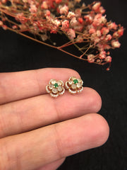 Icy White Jade Earrings - Flower (EA003)