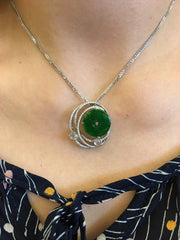 Dark Green Jade Pendant - Coin (PE042)