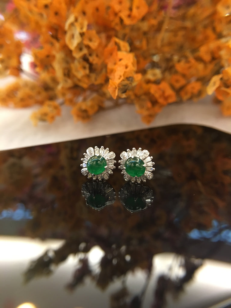 Green Jade Cabochon Earrings (EA181)