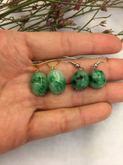 Green Jade Barrels Earrings (EA044)
