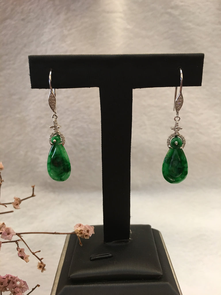 Dark Green Jade Earrings - Pear Shape (EA145)