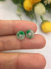 Green Jade Earrings - Safety Coin (EA275)