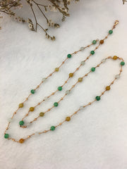 Three Colours Jade Beads Necklace (NE021)