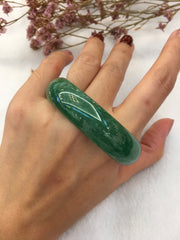 Green Jade Bangle - Oval (BA214)