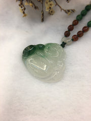 Icy Green Pendant - Laughing Buddha (PE005)
