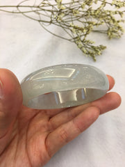 Icy Green Jade Bangle - Oval (BA118)