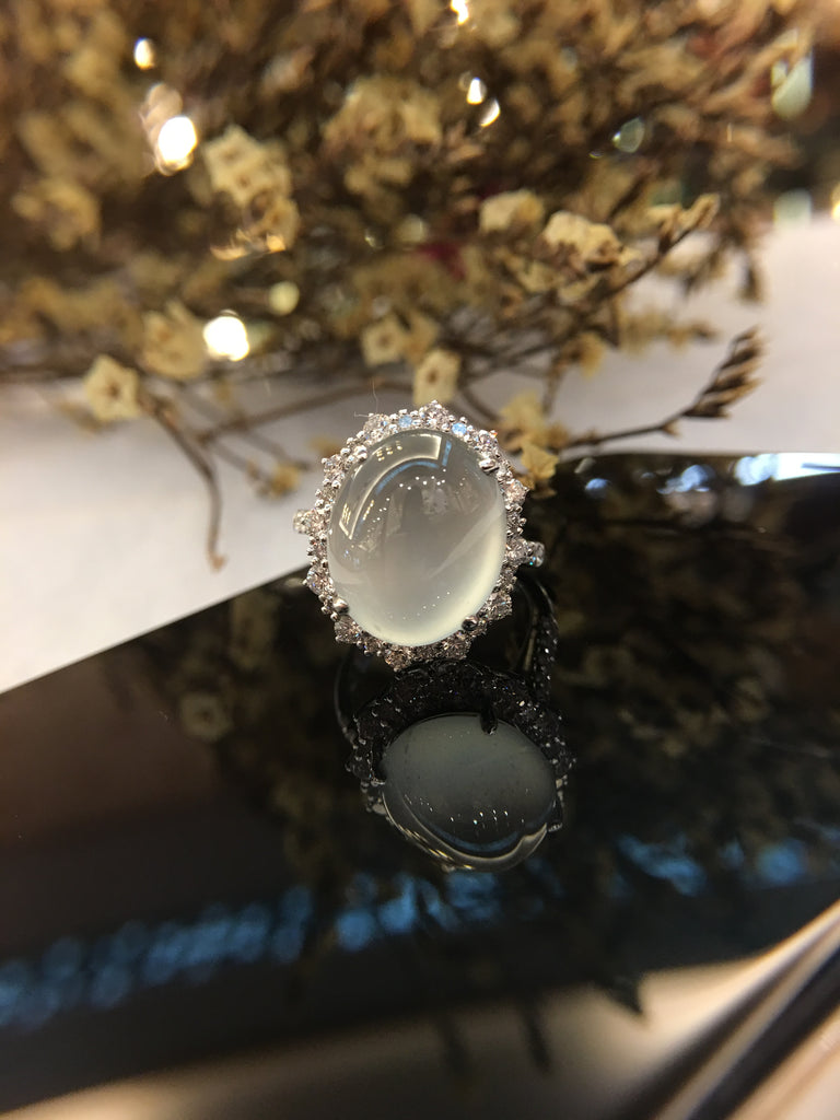 Icy White Jade Ring - Cabochon (RI093)