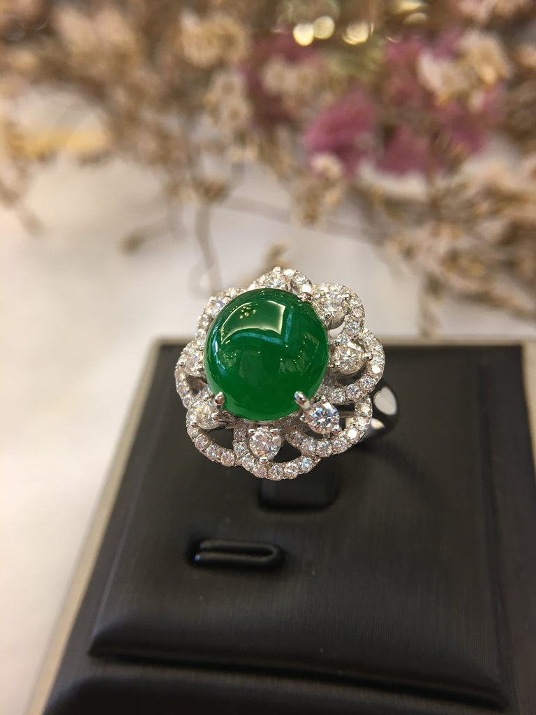 Green Jade Ring - Cabochon (RI194)