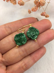 Green Jade Earrings & Bracelet - Clover (EA041)