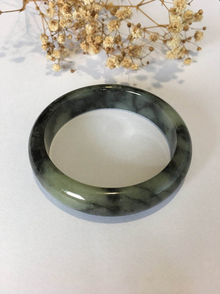 Black Jade Bangle - Round (BA194)