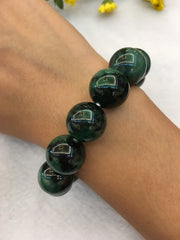 Dark Green Jade Beads Bracelet (BR006)
