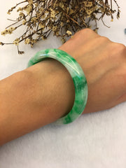 Green Jade Bangle - Round (BA188)
