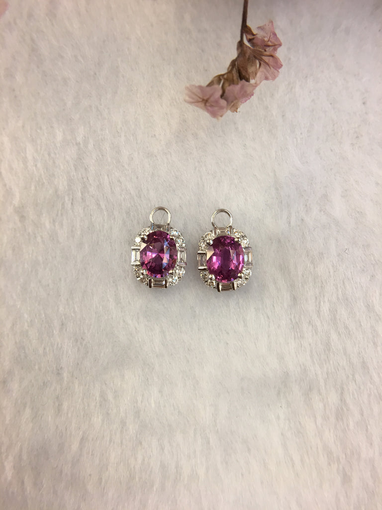 Natural Purplish Pink Sapphires Earrings (Unheated) (GE045)