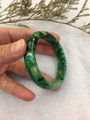 Green Jade Bangle - Round (BA014)