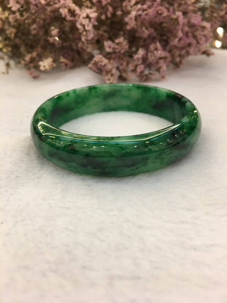 Dark Green Jade Bangle - Round (BA092)