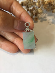 Icy Green Jade Pendant - Rectangular (PE047)