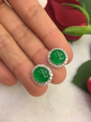 Green Jade Earrings - Cabochon (EA270)