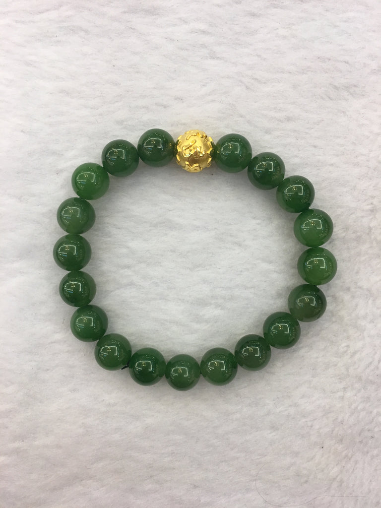 24k Pure Gold Ball With Nephrite Bracelet (BR013)
