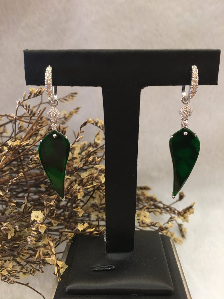 Dark Green Jade Earrings - Leaves (EA017)