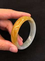 Yellow Jade Bangle - Round (BA095)