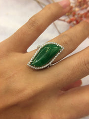 Green Jadeite Ring - Irregular (RI035)